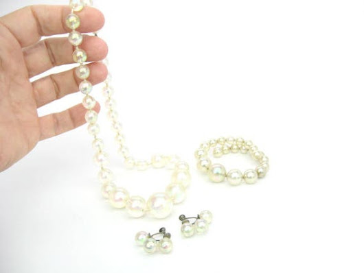 Bubble Beads Necklace Set. Memory Wire Chunky Bracelet