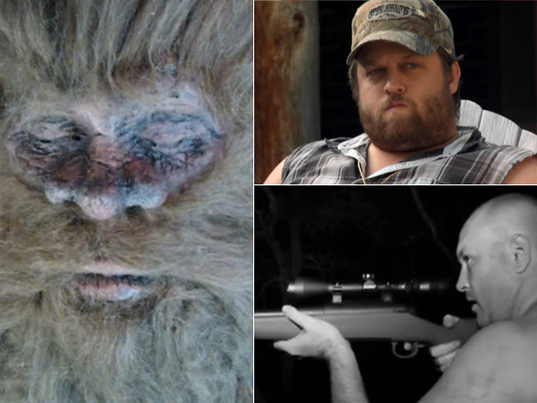 """Two men who claim to have shot and killed Bigfoot. Rick Dyer (bottom right) on camera supposedly shooting the one seen at left in San Antonio in September 2012. Justin Smeja, who shot two in California in 2010, telling his story on Spike TV´s """"$10 Million Bigfoot Bounty,"""""""