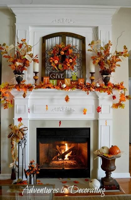 beautiful fall mantle & fireplace decor...the concept of falling leaves is too adorable. #DashandAlbert10Year