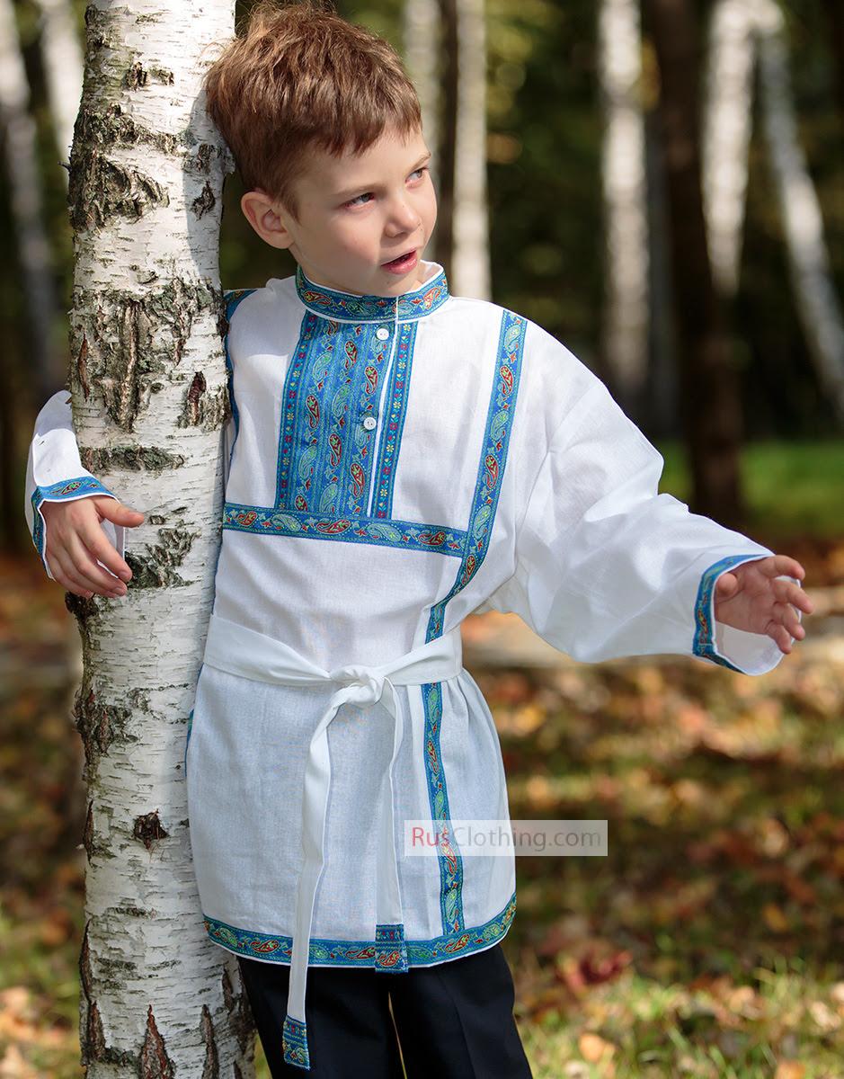 boys cotton russian shirt  rusclothing