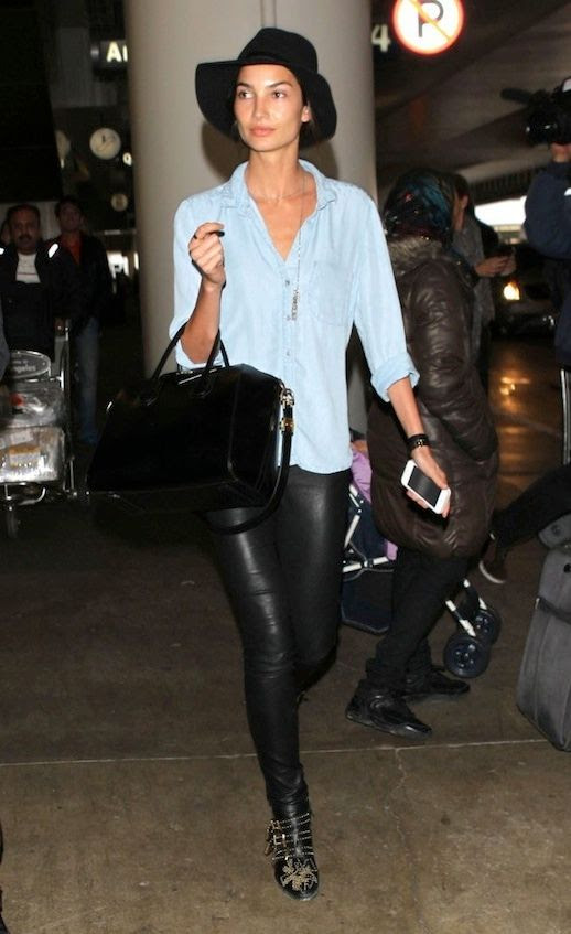 LE FASHION BLOG AIRPORT LOOK LILY ALDRIDGE CHAMBRAY SHIRT LEATHER PANTS VICTORIAS SECRET MODEL OFF DUTY BLACK HAT FRESH FACED BEAUTY OVERSIZED DENIM BUTTON DOWN SHIRT LAYERED CHAIN NECKLACE LEATHER STRAP BRACELET LEATHER PANTS GIVENCHY SHINY PATENT ANTIGONA BAG CHLOE SUSANNA STUDDED ANKLE BOOTS GET THE LOOK LAX AIRPORT 1 photo LEFASHIONBLOGAIRPORTLOOKLILYALDRIDGECHAMBRAYSHIRTLEATHERPANTS1.jpg