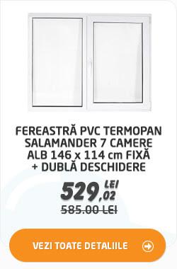 Fereastra PVC termopan Salamander 7 camere alb 146 x 114 cm fixa + dubla deschidere la 529.02 lei
