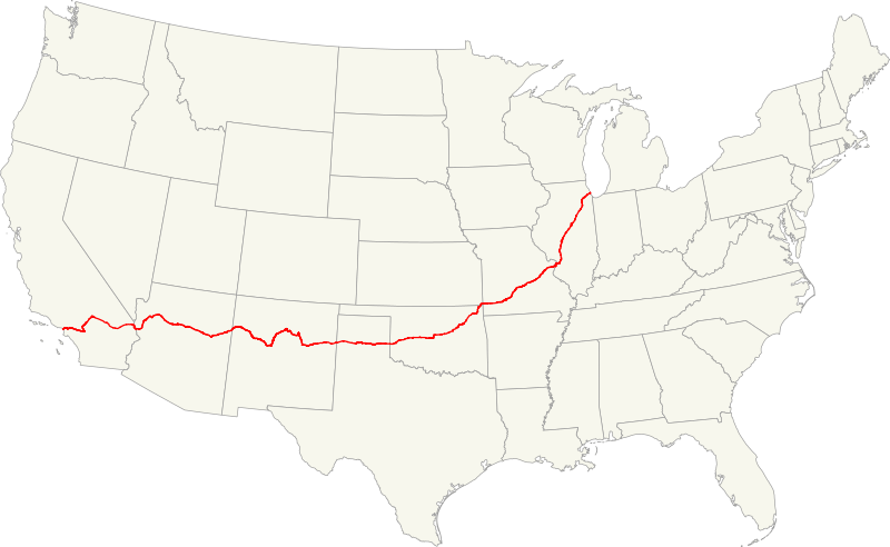 File:Map of US 66.svg