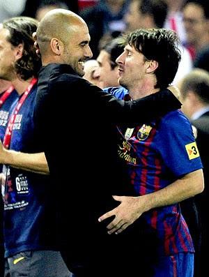Guardiola e Messi na comemoração do Barcelona da Copa do Rei (Foto: AFP)