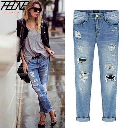 2015 Spring New Women Jeans Ripped Holes Fashion Straight Full Length Mid Waist Famale Washed Denim Pants Cotton Trousers