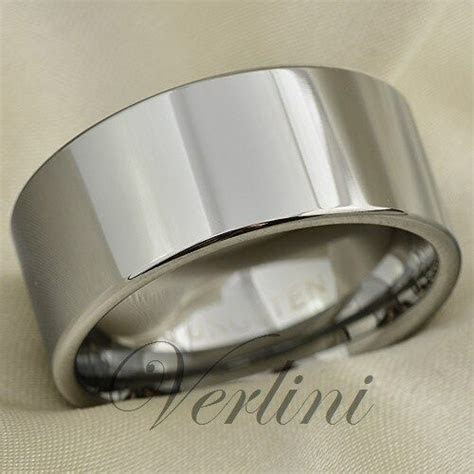 Mens Tungsten Carbide Ring Pipe Cut 10mm Wedding Band