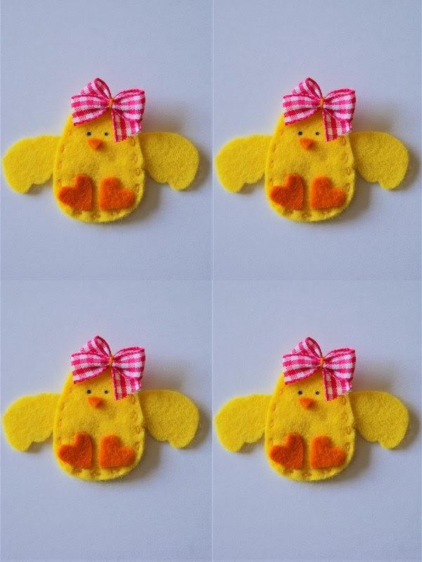 Set of 4 pieces handmade felt applique Baby Girl Chicken. $7.00, via Etsy.Proprietário da loja,Valery Alllem