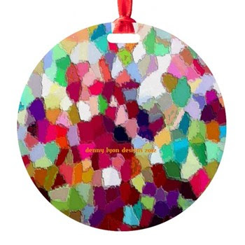 Christmas Confetti Round Ornament