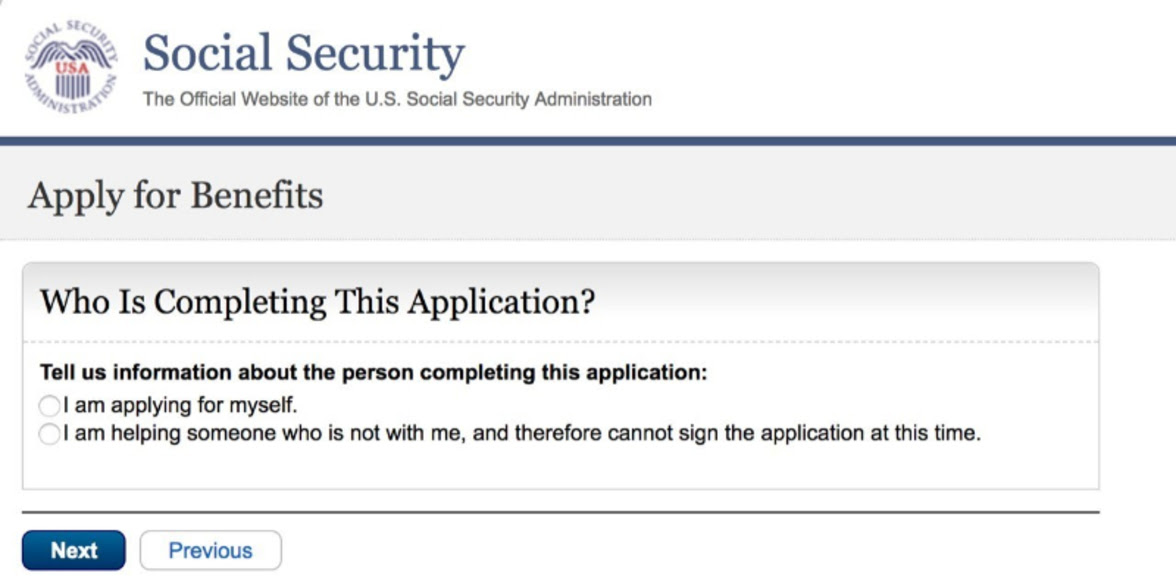 Image of SSA's Online Disability Application