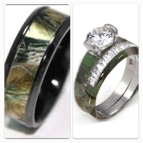 His and her camo wedding bands!   For a wedding ill never