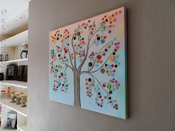 Vibrant Button Tree on Canvas