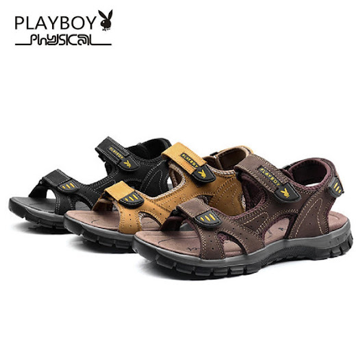 Men PLAYBOY PHYSICAL Expedition Leather Sandals