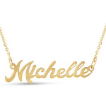 Michelle Nameplate Necklace in Gold, 16 Inch Chain by SuperJeweler