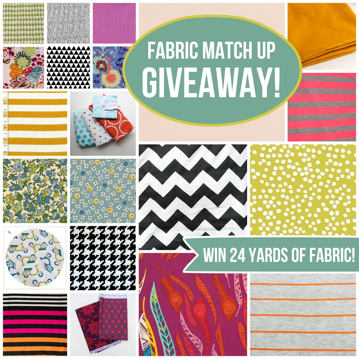 fabric match up giveaway- win 24 yards of fabric from your favorite bloggers!