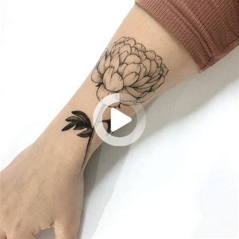 peony flower temporary tattoo black hand drawn