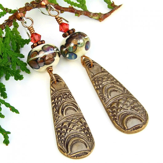 Marrakech Bronze Dangle Earrings, Lampwork Boho Handmade Jewelry Women