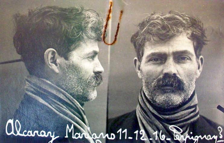 Foto antropomètrica de Mariano Alcaraz Torrijo (11 de desembre de 1916)