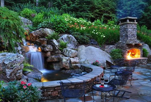 Back Yard Pond with Waterfall Ideas
