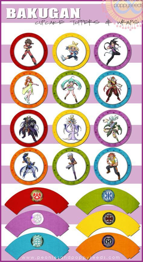 Bakugan Free Printable Wrappers and Toppers for Cupcakes