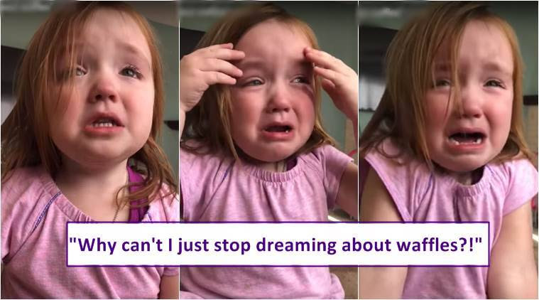 viral video, girl crying over waffle, viral video of girl crying over waffle, kids videos, funny kids video, children viral videos, indian express, indian express news