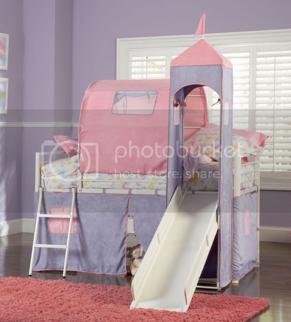 Princess Castle Twin Size Tent Loft Bed w Slide Set | eBay