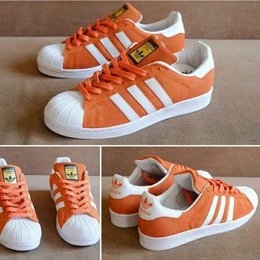 Jual Beli adidas superstar orange white suede original | Bukalapak