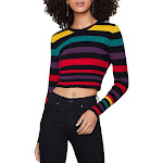 BCBGeneration Womens Striped Crew Neck Crop Sweater Multi
