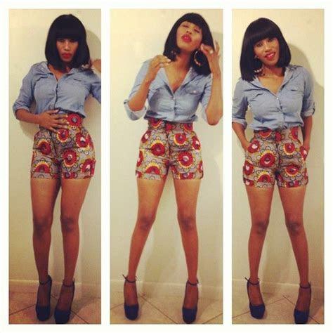 high waist kitenge shorts   design   Pinterest   Shorts