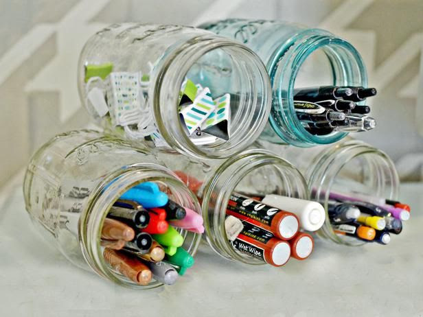 31 Days of Getting Organized (Using What You Have) - Day 5: Jars in the Office - Organize and Decorate Everything
