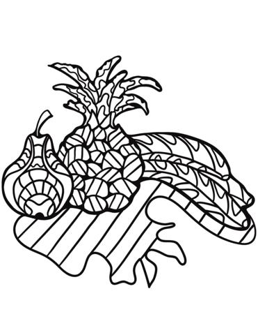 Dibujo De Pera Piña Y Plátanos Zentangle Para Colorear Dibujos