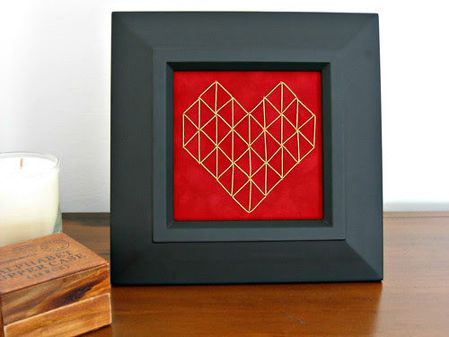 Stitched Geometric Heart on Velvet Paper in Frame