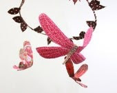 Fabric nursery mobile - 3 dragonflies dream of spring  in strawberry pink, crimson, brown, white, candy red, and orange - BabyJivesCo