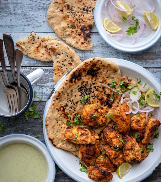 Pudina Naan with Chicken Adraki Kabab - Elephant Atta