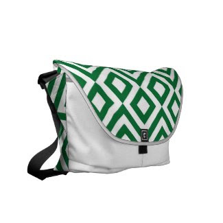 Green and White Meander Courier Bag