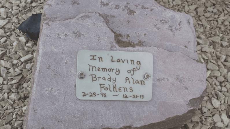 Brady Folkens memorial stone