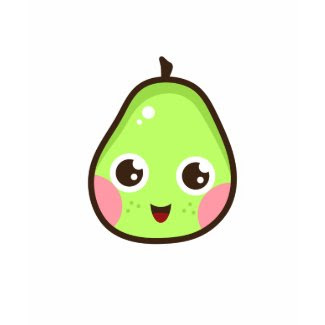 Cute kawaii green pear t-shirt - fruit cartoon shirt