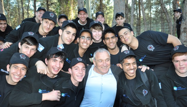 Fire Scouts with Minister of Public Security Yitzhak Aharonovich at an awards ceremony after completing training. Photo courtesy of JNF