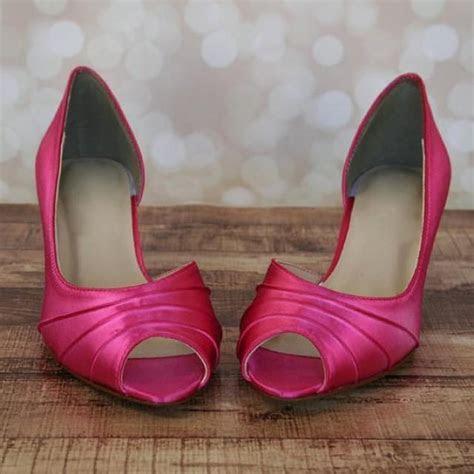 Custom Wedding Shoes    Fuschia Kitten Heel Peep Toe