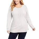 Karen Scott Women's Plus Size Cable-Knit Trimmed Sweater White Size 1X
