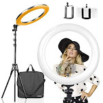 Limostudio Led 18 Inch Ring Light Multi Color Temperature 3200k-5600k And Dimmable With Camera Adapter & Height Adjustable Photo Studio Light Stand