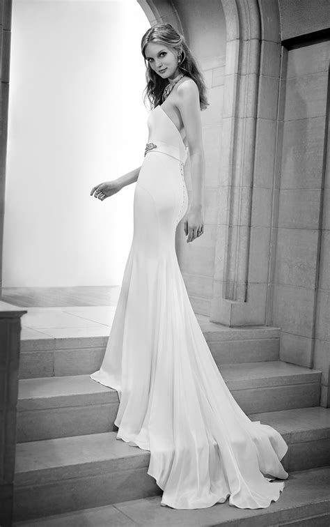 Simple Fitted Silk Sheath Wedding Gown   Martina Liana