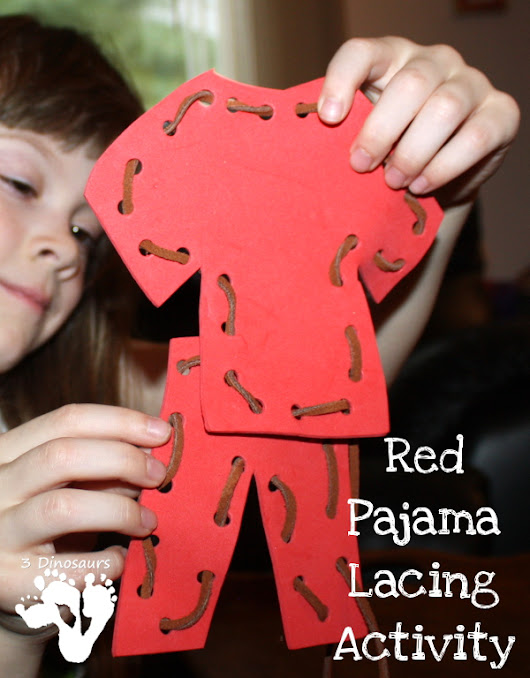 Red Pajama Lacing Activity | 3 Dinosaurs