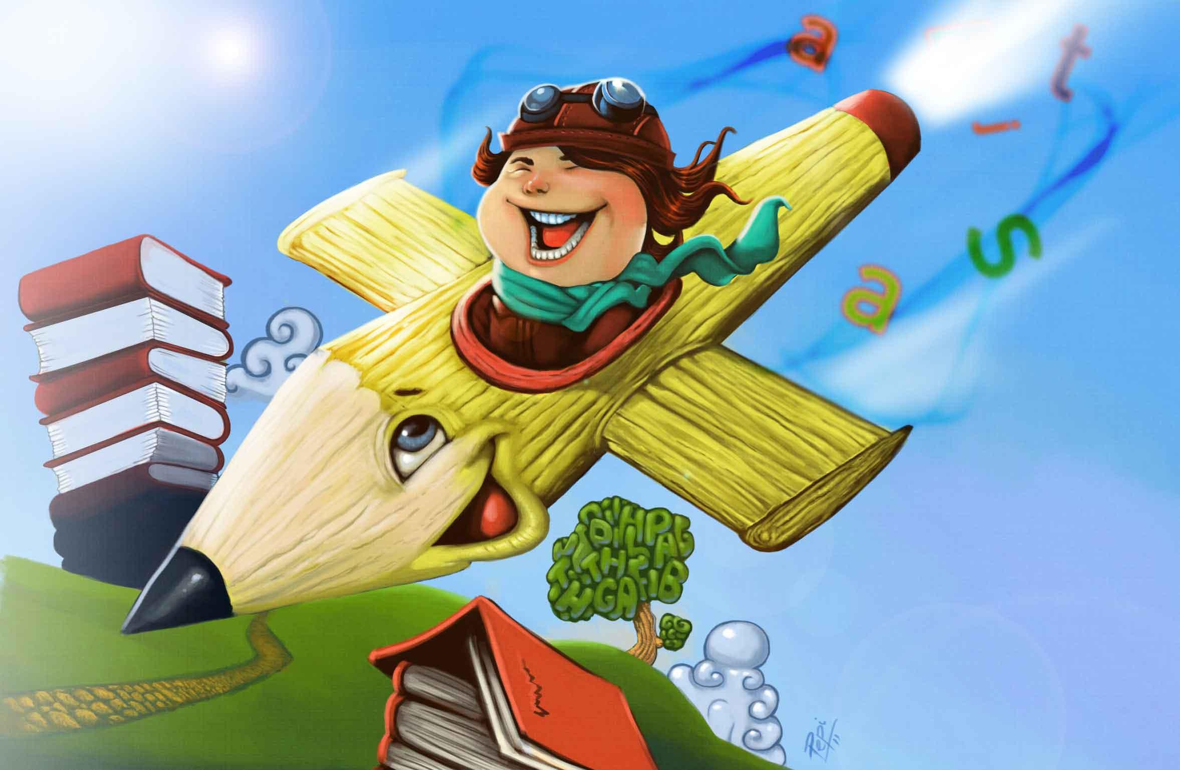 ILUSTRAÇÃO: criança voando num lápis em formato de avião em meio a cenários de aprendizagem e imaginação