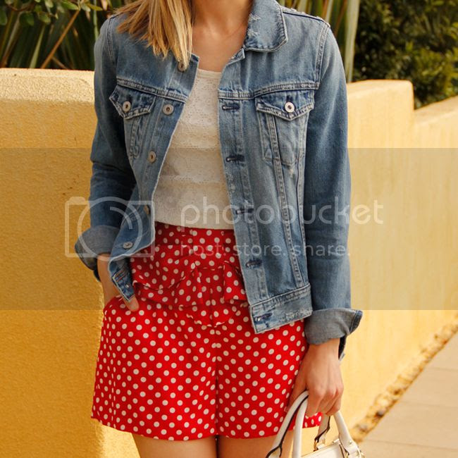 LC Lauren Conrad Minnie Mouse red polka dot soft shorts, AG jeans denim jacket, Mossimo lace crop top