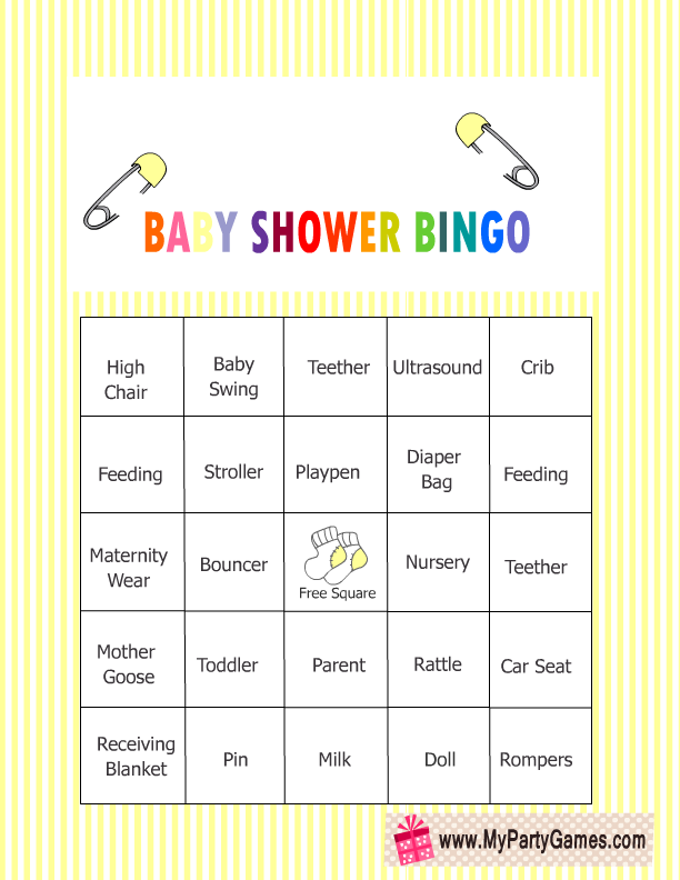 baby shower bingo yellow 12