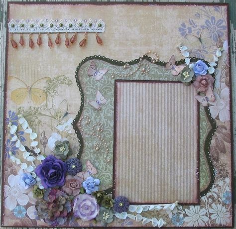 Shabby Chic Butterfly Premade 12x12 Layout Scrapbook Page
