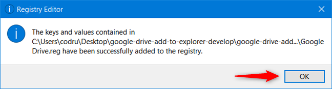 Las claves de registro de Google Drive se han agregado al Registro de Windows