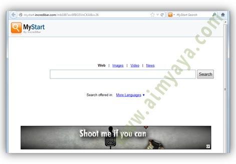 Gambar: contoh tampilan (Malware) MyStart.incredibar.com