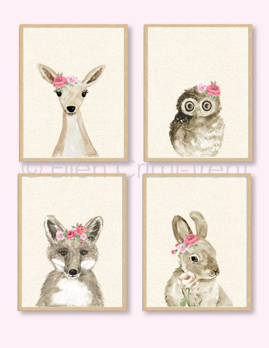 Boho Chic /Watercolor Baby Animals/Girls watercolor wall