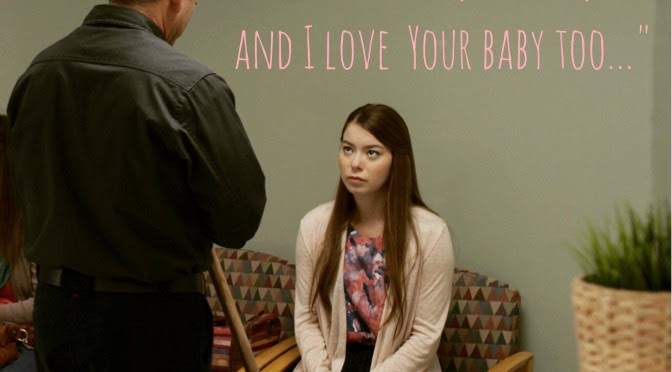 Bruce Marchiano as the janitor (God) trying to convince Alison not to kill her baby.
